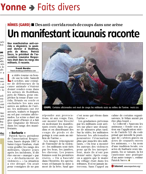 Journal de l'Yonne 14/10/11