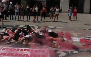 Manifestation anti-corrida à Bayonne mercredi 15 août 2018.